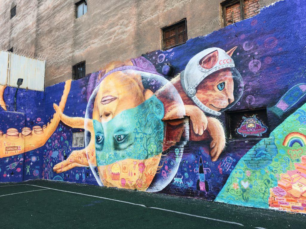 Граффити с космическим котом
